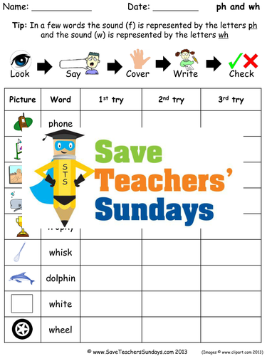 Ph and Wh Words Spelling Worksheets and Dictation Sentences for Year 1