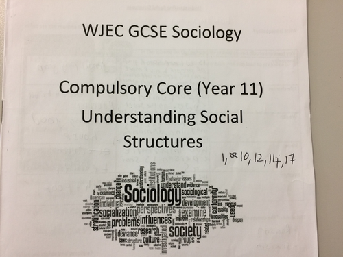 2 revision booklets GCSE WJEC Sociology and theories overview sheet