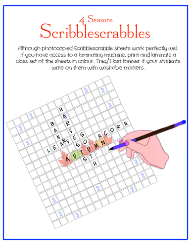 The  4 Seasons Scribblescrabbles (in English, French, Spanish. . . )