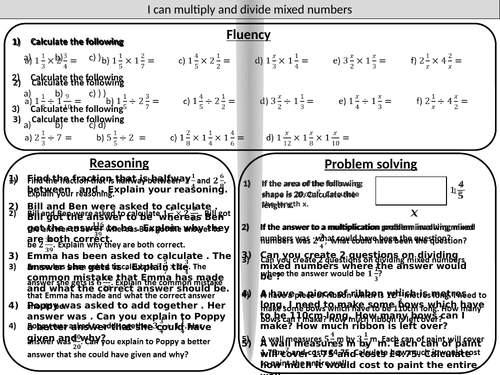 Multiplying and dividing mixed number fractions - mastery worksheet