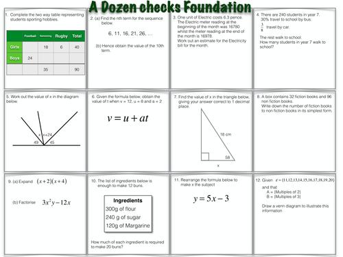 A Dozen questions Foundation level