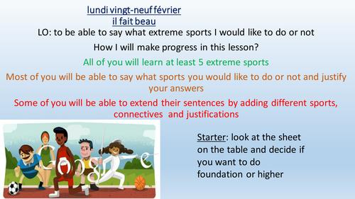 sports et sports extremes 'je voudrais faire/essayer'
