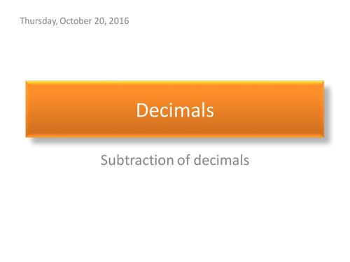 Subtraction of Decimals
