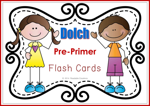Sight Word Flash Cards – Dolch Pre-Primer {Freebie}