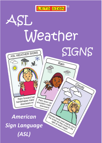 ASL WEATHER SIGNS  eBook FLASHCARDS