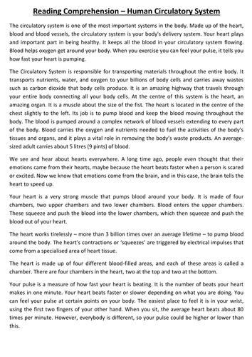 science based ks2 ks3 vcop reading comprehension worksheets human circulatory system by. Black Bedroom Furniture Sets. Home Design Ideas