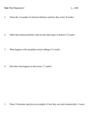 AFL Test A2 OCR biology Plant responses 2