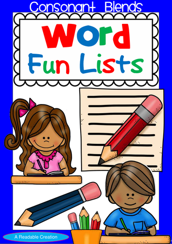 Consonant Blends – Word Fun Lists for Year 2