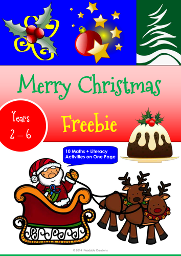 Merry Christmas Freebie – Maths & Literacy Activity Sheet