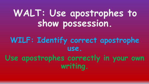 Apostrophes for Possession Singular and Plural