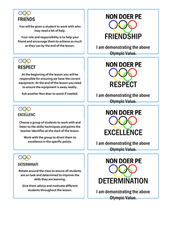 Non Doers tasks based on Olympic Values