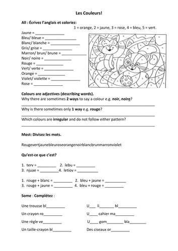 French Teaching Resources Colours Worksheet