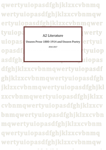 WJEC A2 Literature Unseen Prose 1880-1910