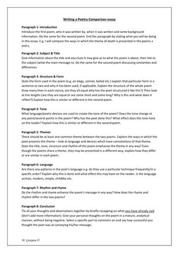 poetry comparison worksheet ozymandias river god by magz essay plan poetry comparison