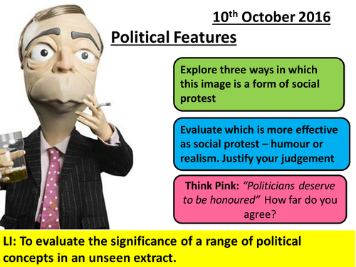Social Protest and Political Writing Unseen Extracts: Planning