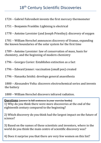 Enlightenment Discoveries: Science and Medicine Timeline Task