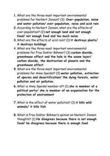 Probleme und Loesungen  (environmental problems- Die Umwelt Edexcel/ AQA GCSE red textbook )