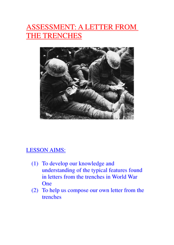 World War One Assessment: Letter From The Trenches