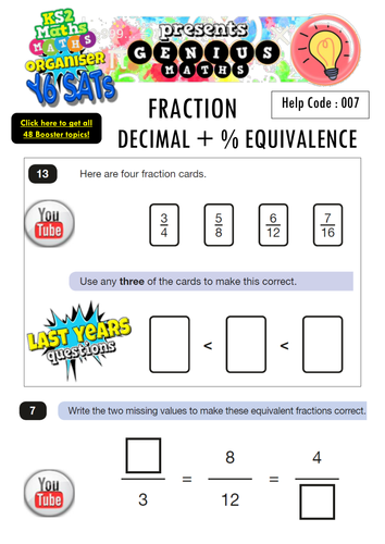 KS2 SATS Fraction, Decimal, Percentage Equivalence Booster Pack - with Youtube Solution Buttons