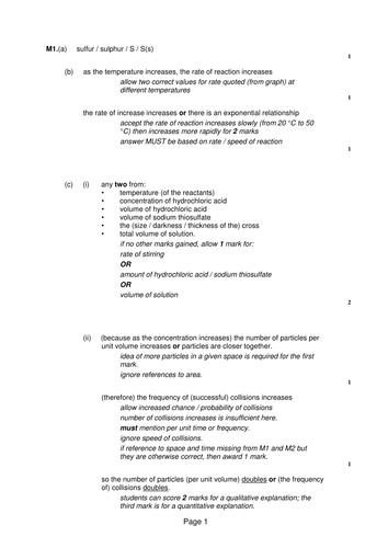 AQA TRILOGy C8 Rates and Equilibrium Assessments