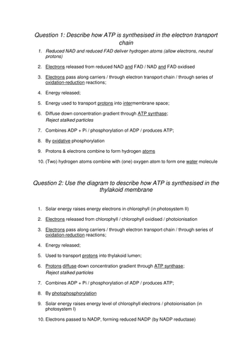 AQA A-level Biology (2016 specification). Section 5 Topic 14: Respiration - Electron transport chain