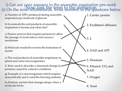 AQA A-level Biology (2016 specification). Section 5 Topic 14: Respiration - Anaerobic respiration