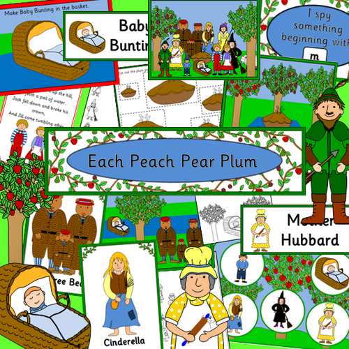 Each Peach Pear Plum story resource pack- posters, literacy, numeracy, nursery rhymes