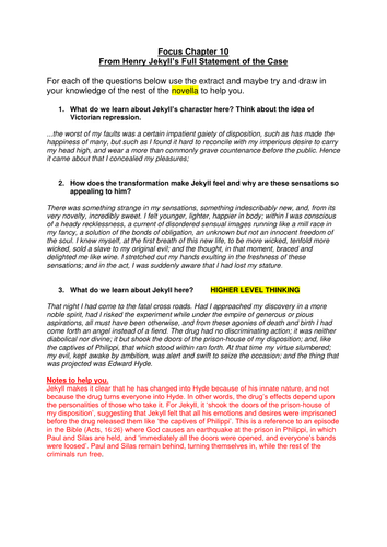 comprehension activity for revising chapter 10 of Jekyll and Hyde