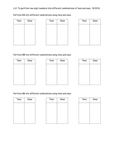 partitioning two digit numbers into different combinations of tens and ones a worksheet by. Black Bedroom Furniture Sets. Home Design Ideas