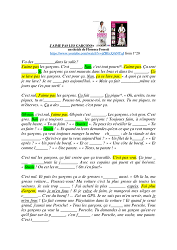 """""""J'aime pas les garcons"""" Florence Foresti - transcript + activities"""