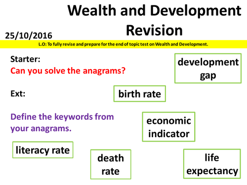 Wealth and Development - Revision