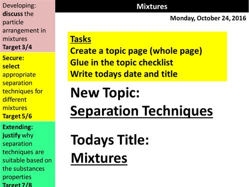 C2.2 Separation Techniques - Lesson 1 - Mixtures