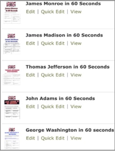 First 5 Presidents  60 Seconds at a Time