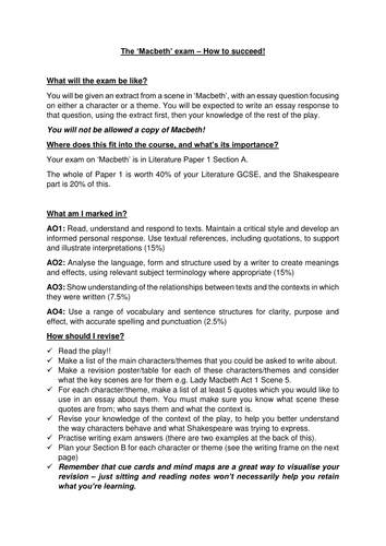 Paper Vs Essay Aqa Macbeth Exam And Essay Guide Obesity Essay Thesis also Essay Proposal Example Macbeth Gcse Coursework Essay Plan Guide By Kellyblili  Teaching  Protein Synthesis Essay