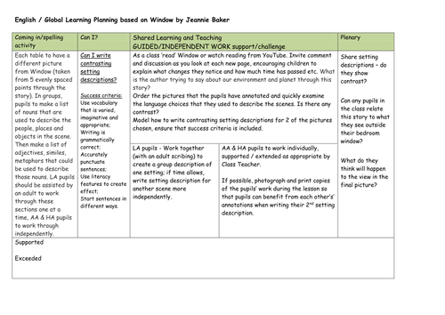 Setting description lesson based on Window by Jeannie Baker