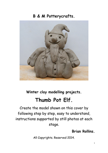 Thumb Pot Elf . Christmas model in clay.