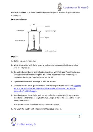 aqa unit 1 chemistry worksheet burning magnesium magnesium oxide practical worksheet by. Black Bedroom Furniture Sets. Home Design Ideas