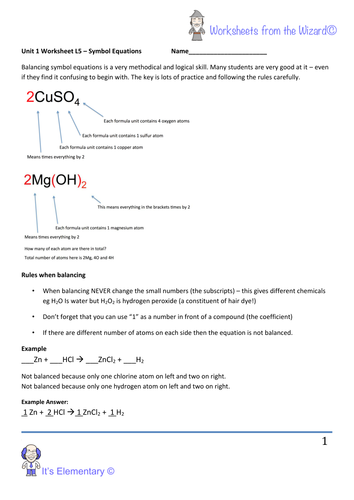 Aqa Unit 1 Chemistry Worksheet Balancing Chemical Equations And