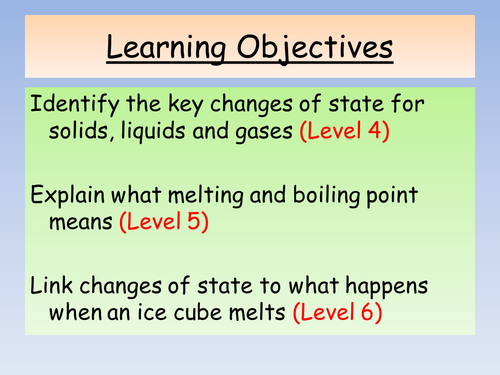 Chemistry Corner KS3 Year 7 Topic - Changes of State lesson