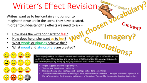 Looking at Writer's Effect - Thinking points for students when analysing language - PEE alternative