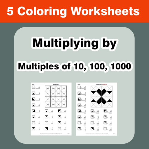 Multiplying By Multiples Of 10 100 1000 Coloring Worksheets By