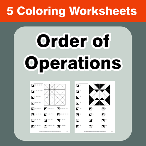 Order of Operations Coloring Worksheets by bios444 Teaching – Order of Operations Free Worksheets