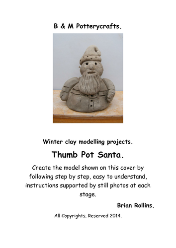 Thumb Pot Santa. Christmas model in clay.