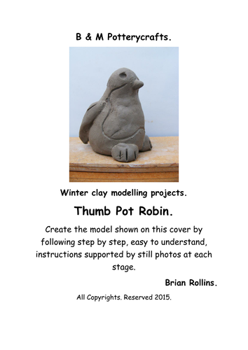 Thumb Pot Robin. Christmas model in clay.