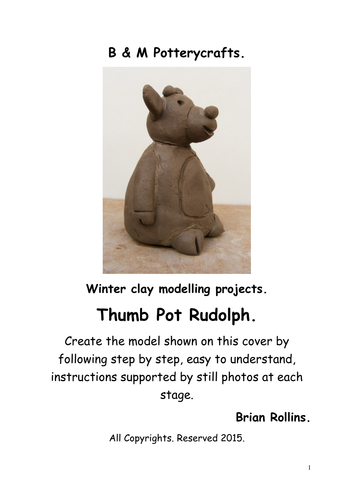 Thumb Pot Rudolph. Christmas model in clay.