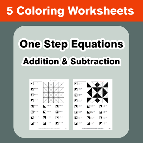 one step equations addition subtraction coloring worksheets by bios444 teaching resources. Black Bedroom Furniture Sets. Home Design Ideas