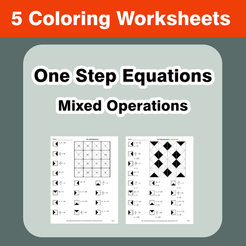One Step Equations Mixed Operations Coloring Worksheets by – One Step Equations Worksheets