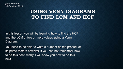 Using A Venn Diagram To Calculate Hcf And Lcm By Nouchinjohn