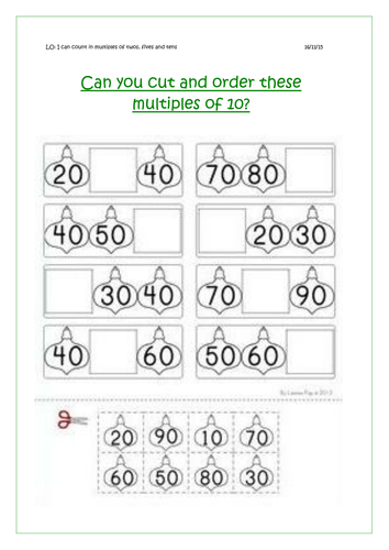 new year 1 multiples of 10 worksheet by rachelh29 teaching resources. Black Bedroom Furniture Sets. Home Design Ideas