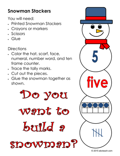 Number Sense: Snowman Stackers